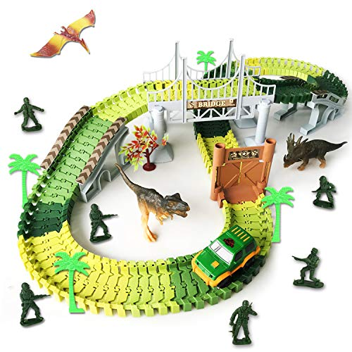 Dinosaur Race Track Toys 144 Flexible Tracks Playset Toy Slot Car Hanging Bridge Dinosaurs Soldier Toys ect. Perfect Toy Gifts for 3+Year Boys