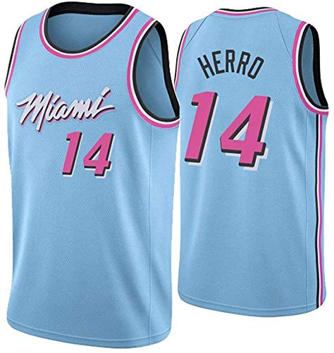WSUN Maglia da Basket NBA da Uomo Miami Heat 14# Tyler Herro Jersey NBA Unisex Top Senza Maniche Sport all'Aria Aperta Tute da Competizione Gilet,M