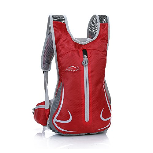 Freien Rucksäcke Unisex 14L Ultraleicht Fahrrad Reise Wander Sportrucksack, Wasserdicht Reiserucksack für Laufen Skifahren Camping Trekking Bergsteigen Radfahren Schultertaschen (Rot)