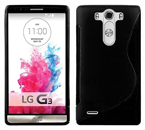 Cadorabo Hülle für LG G3 - Hülle in Oxid SCHWARZ – Handyhülle aus flexiblem TPU Silikon im S-Line Design - Silikonhülle Schutzhülle Soft Back Cover Case Bumper