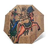 SUHETI Paraguas automático de Apertura/Cierre,Animales Antiguos Arquero Flechas Arco Egipto Jeroglíficos,Paraguas pequeño Plegable a Prueba de Viento