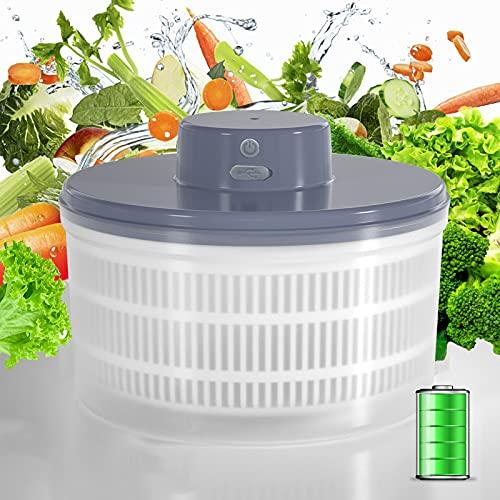Electric Salad Spinner - Lettuce Vegetable Dryer, USB Rechargeable,...