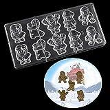 Ensemble de moule à pâtisserie Père Noël Bottes de Noël Moules à Chocolat en Polycarbonate Moules à Chocolat 3D Bricolage PC Moules à Gelée de Bonbons à Chocolat Barres à Chocolat Maker Plateau de Mou