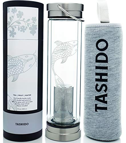 Glass Bottle Double Wall Infuser for Hot Tea Coffee Cold Drinks Fruit Travel Sleeve! 14 oz. BPA-Free