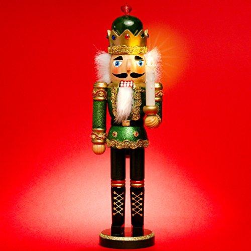 Sikora NK-C aufwändig gestalteter XL Deko Nussknacker aus Holz mit LED Kerze und Fernbedienung, Größe:Höhe ca. 40 cm, Farbe/Modell:C03 grün - KÖNIG