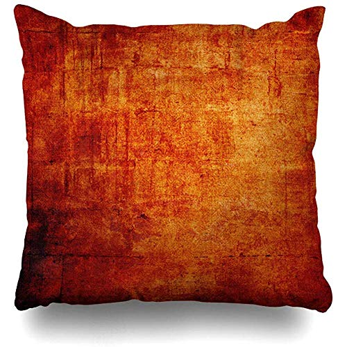 Cushion Cover Pattern Orange Abstract Vintage Space Text Brown Distressed Red Age Aged Antique Brush Burned Design Decorative Pillowcase Home Decor Square Cushion Case Throw Pillow Cover 45X45Cm