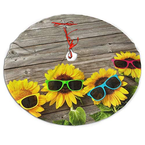 Wfk28b-8 Sunglasses Sunflower Christmas Tree Skirt, Traditional Wedding Decorations for Holiday Party, 36'