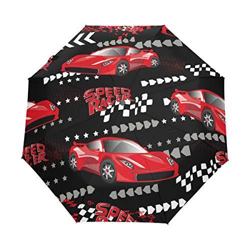 Speed Racer Red Cars Compact Travel Umbrella Outdoor Rain Sun Car Faltbarer Regenschirm für Winddicht Verstärktes Sonnendach UV-Schutz Ergonomischer Griff Auto Öffnen/Schließen