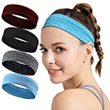 Wicking Headband for Women Men - Silicone Sweatbands with Nonslip Grip - Lightweight Headband Set - Workout Sports Indoor Fitness Exercise Tennis Running Yoga Athletic Travel