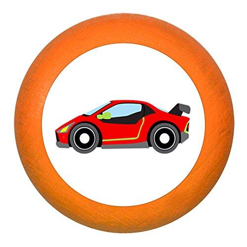 """Schubladengriff""""Rennauto Flitzer rot"""" orange Holz Buche Kinder Kinderzimmer 1 Stück Fahrzeuge Transportfahrzeuge Traum Kind"""