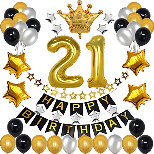 21st Birthday Decorations for Men Boy Women Girl,Black and Gold Birthday Decorations for 21st and 12nd Happy Birthday Party with 21 Gold Number Balloon Happy Birthday Banner and Gold Crown Balloons