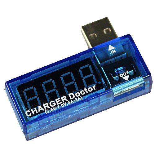 com-four® Cargador USB Médico Multímetro Detector de Corriente y medidor de Voltaje Probador de voltímetro Digital 3.5V-7.0V, 0-3A (1 Pieza)