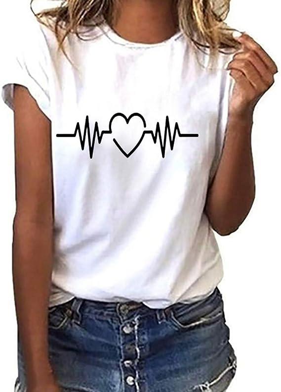 LANSKIRT Camisetas Mujer Manga Corta 2020 con Corazón y Letra Imprimir Blusas y Camisas de Mujer Elegante Camisa Basica Verano Tops Casual T-Shirt ...