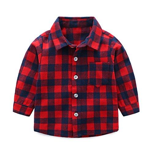 Niños Bebé Camisa de Cuadros Manga Larga Camiseta Algodón Shirt Tops Blusa...