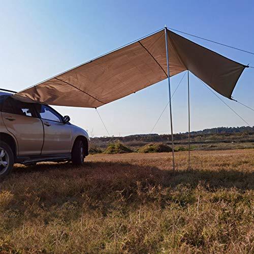 Sombra de refugio para automóvil, tienda de campaña en el techo del lado del automóvil, parabrisas impermeable, parabrisas portátil UV, toldo para lluvia en el techo del automóvil,Caqui,300*150cm