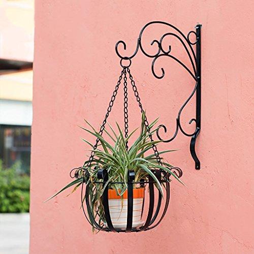 Pots de fleurs suspendus de mur de fer intérieure Creative fleur panier étagère balcon fleur étagère 27 * 26 * 53cm (Couleur : Noir)