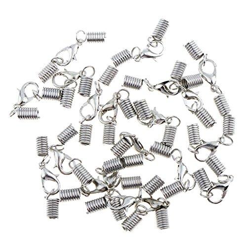Bonarty 20Sets Lederband Ende Crimp Federverschluss Für Halskette Armband Mit