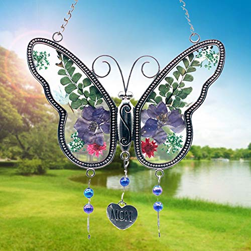Suncatcher ,Mom Butterfly Mother Suncatcher with Pressed Flower Wings - Wind Chime with Pressed Flower Wings Embedded in Glass with Metal Trim Friend Heart Charm for Birthdays Christmas Thanksgiving