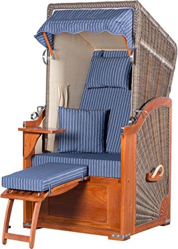 Möbelpromenade Strandkorb List Mahagoni Einsitzer PE grau Dessin Royal Blau