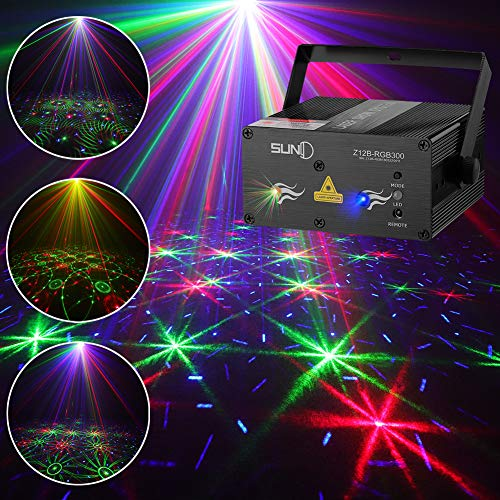 SUNY Laser Light Laser Projector DJ Stage Lighting 12 Gobos in Red Green Laser Light Blue Stars Mixed Effect Remote Control Stage Lighting Party Sound Activated Dance Show Xmas Holiday Home Decorative