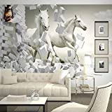 Msrahves fotomurales decorativos pared 3d Creativo blanco animal caballo 210X140CM Decoración de Pared decorativos Murales Para sala de estar TV fondo pared Murales de pared papel pintado papel de par