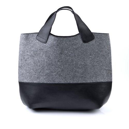 FEYNSINN Borsa a mano vera pelle FREYA grande XL borsettamanico Tote bag donna nero