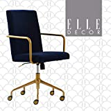 Elle Decor Giselle Modern Home Office Desk Chair, High Back Adjustable Computer Chair with Gold Arms, Base and Wheels, Velvet Fabric, Navy Blue