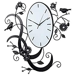 Birds & Flowers Design Black Metal Analog Wall Clock/Wall Mounted Decorative Accent with Rhinestones
