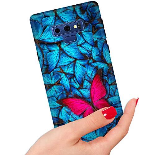 IMD IMD0082 Schutzhülle für Samsung Note 9 / Galaxy Note 9, weicher Rand, Motiv Schmetterling, Blau / Rot