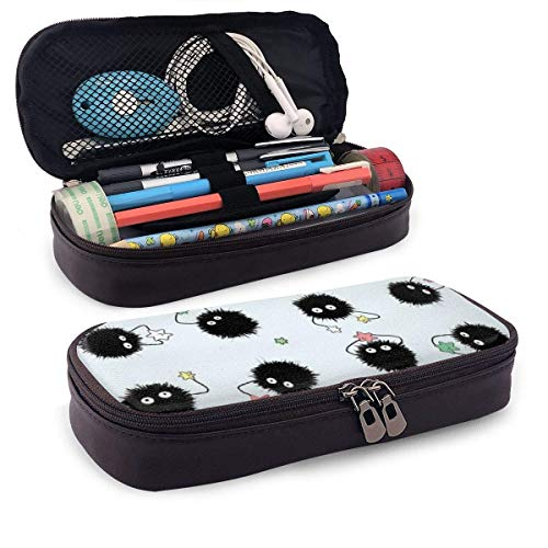 Spirited-ay-Soot Sprites Ledermäppchen, Hochleistungs-Studententasche, Bleistiftetui, tragbarer Bleistift
