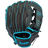 Franklin Sports Teeball Infinite Web/Shok-Sorb Combo Series Fielding Left Hand Glove, 10.5-Inch, Graphite/Blue