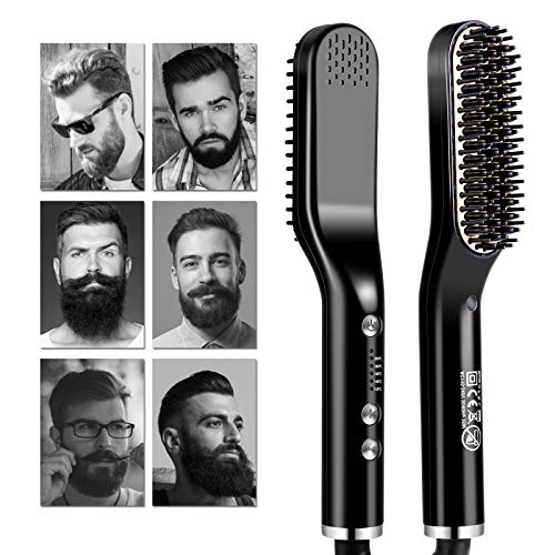 Bartglätter für Männer, Bart Glätteisen, bart glätter, Bart kamm männer, bart bürstefür Männer, Fünf Temperaturmodi, mit um 360 ° Drehbarer Schnur