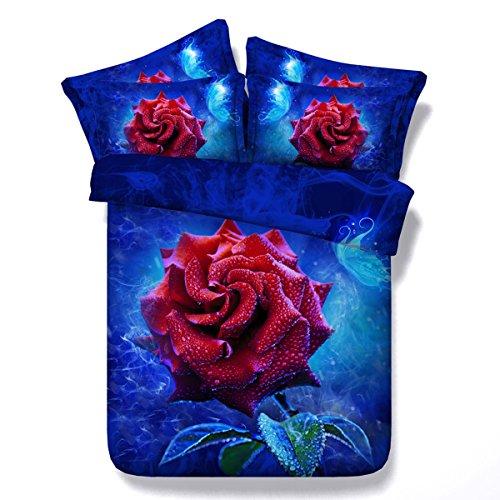 FGDJTYYJ Bettbezug Set Finca Rose 3D Wirkung Quilt Bettwäsche-Sets mit Kissenbezüge Doppelbett größe Bett 3 teilige 1 bettbezug 2 Kissenbezüge, D, 240cmx220cm