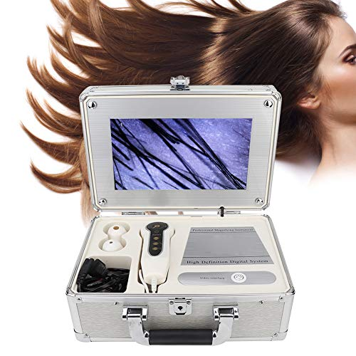 Haar Kopfhaut Detektor Analysator, 50X 200X Mikroskop Haarhautdetektor Hautscanner Hautumfang Diagnosemaschine HD Lupe 2 Millionen Pixel, 10,1-Zoll Haaranalysator Scanner(EU)