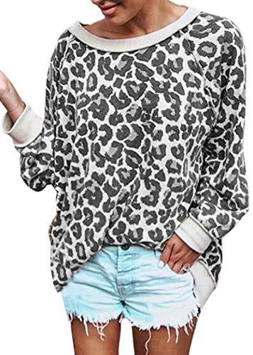 ECOWISH Damen Camouflage Print Casual Leopard Pullover Langarm Sweatshirts Top Bluse - grau, size: Klein