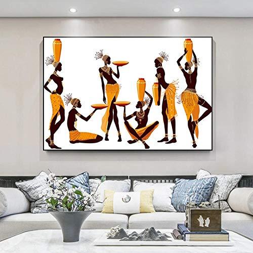 VVSUN Mujeres africanas Abstracto clásico Lienzo Pintura Pared Arte Cartel e Impresiones Cuadro de Pared Moderno para decoración de Sala de Estar 60X90cm 24x36 Pulgadas sin Marco