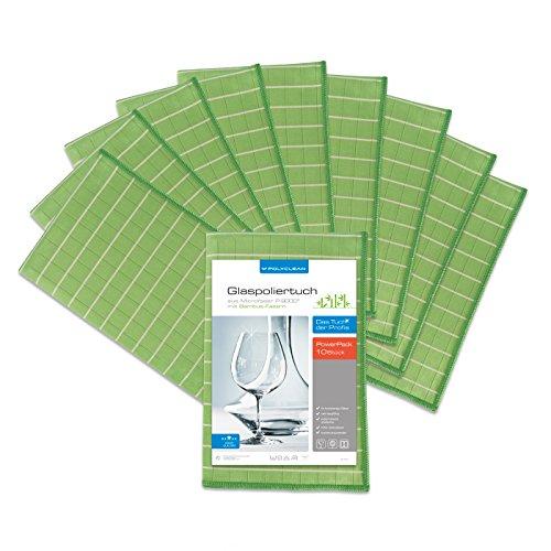 POLYCLEAN 10x Glas-Poliertuch – Mikrofasertuch mit Bambus-Fasern für streifenfreie Gläser, Fenster und Spiegel – Trockentuch für eine schlierenfreie Reinigung (60 x 40 cm, Grün, 10 Stück)