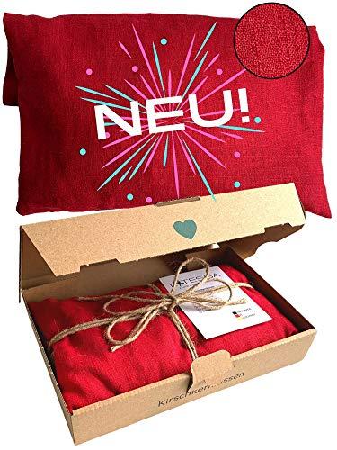 LATESSA® Design - Kirschkernkissen - nachhaltig & fair - aus feinsten Leinen - 100% Naturprodukt - Handmade in Germany - für die Mikrowelle - für Erwachsene & Kinder - 550g - 35x15cm