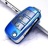 ZSDEW Smart Key Case Cover, Car Key Cover Soft TPU Key Cover Accesorios de la Caja Flip Key Holder Protection Shell, para Audi A3 A6 C6 Q7 A4 A5 A1 C5 Q2 Q3 RS 3 S3 para Audi KeyColor 2