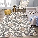 Cozy Moroccan Trellis Gray/Cream 5'3' x 7'3' Indoor Shag Area Rug