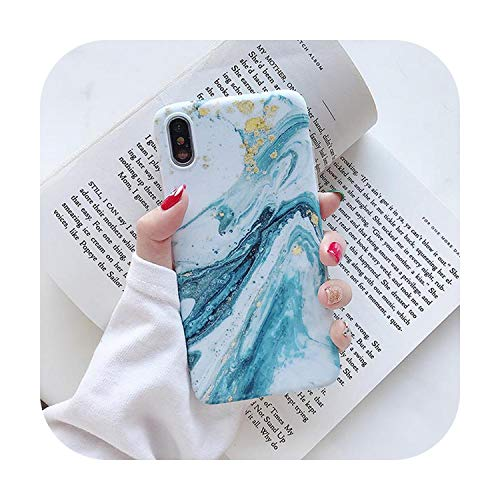 Susususu - Cover posteriore morbida IMD per iPhone 11 Pro Max XR XS MAX X 6 6S 7 8 Plus, colore: Blu