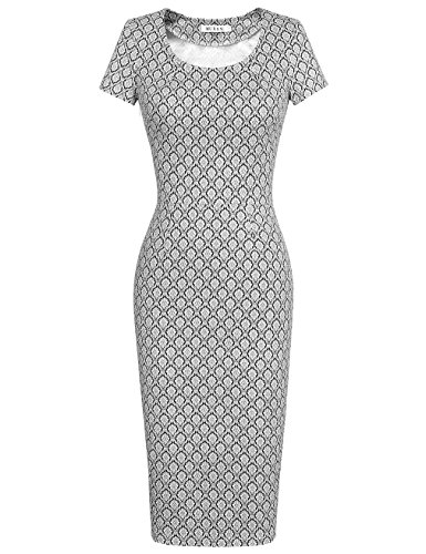 MUXXN Women's 50s Vintage Chic Short Sleeve Casual Pencil Dress(S,Printed Black)