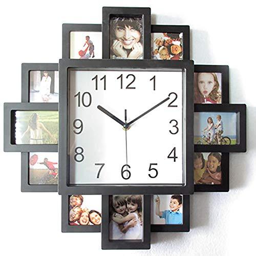 Moderner Design Wanduhr mit Fotorahmen, Wanduhr Bilderrahmen für zwölf Fotos, Fotouhr, Fotogalerie Uhr Zum Selbstgestalten, Bilderuhr Foto Collage, Schwarz