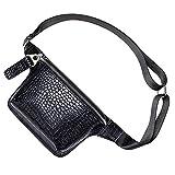 Badiya Women's Crocodile Fanny Packs Stylish Leather Waist Bag Mini Chest Bag