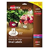 Avery Oval Labels for Home Organization, 1.5' x 2.5', 180 Glossy White Labels (22804)