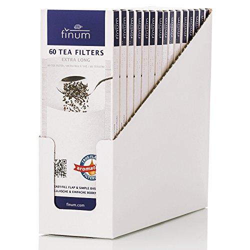Finum 60 TEEFILTER XXL (15 Schachteln) - Papierteefilter, Große Teefilter, loser Tee, Papier-Filter, Einweg Teekannenfilter, Einfülllasche, Biologisch, FSC-zertifiziert, Kannen Tee-Filter - (220x82mm)