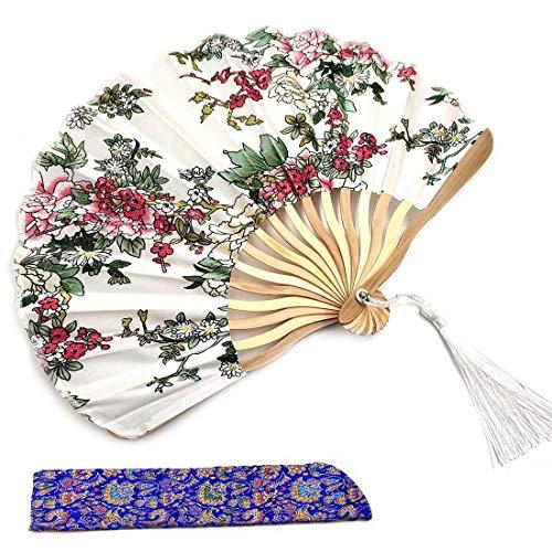 Abanico de mano de seda plegable para mujer de bambú chino japonés...