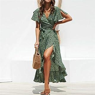 QGTDRESS Print Flower High-Rise Lace-up Chiffon Dress, Size:XL(Black) (Color : Green)