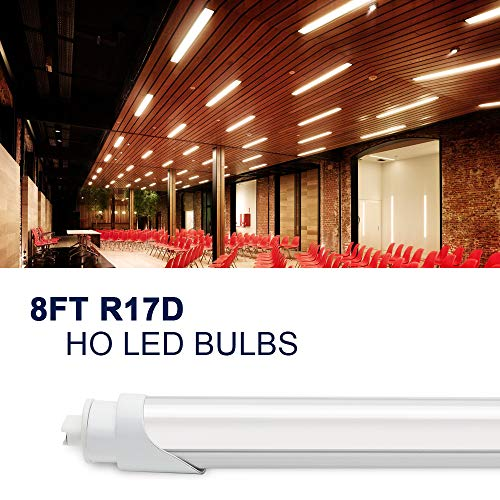 JESLED R17D/HO 8FT LED Light Bulb - LED Tubes 45W (110w Equivalent), Rotate, 6000K Cool White, 4800LM, Frosted Cover, T8/T10/T12 Dual Ended Power, Ballast Bypass, F96T12/CW/HO LED Replacement(12-Pack)