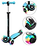 ChromeWheels Scooters for Kids, Deluxe Kick Scooter Foldable 4 Adjustable Height 150lb Weight Limit 3 Wheel, Lean to Steer LED Light Up Wheels, Best Gifts for Girls Boys Age 3-12 Year Old, Blue